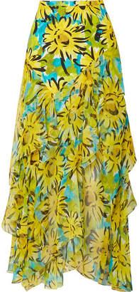 Michael Kors Asymmetric Ruffled Floral-print Silk-crepe And Chiffon Maxi Skirt - Yellow