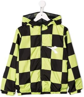 Diadora Junior check print hooded jacket
