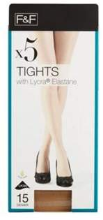 F&F 5 Pack Of 15 Denier Tights With Lycra