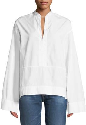 AG Jeans Eden Wide-Sleeve Cotton Tunic Blouse