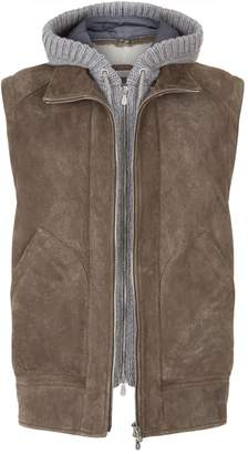 Brunello Cucinelli Leather Shearling Gilet