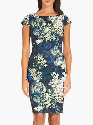 Adrianna Papell Peaceful Hydrangeas Sheath Dress, Navy/Multi