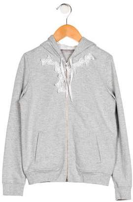 Ermanno Scervino Girls' Appliqué-Accented Hooded Jacket