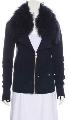 Minnie Rose Fur Collar Cardigan