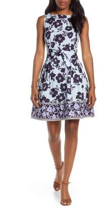 Vince Camuto Floral & Stripe Fit & Flare Dress