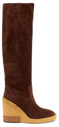 Tod's - Knee High Suede Wedge Boots - Womens - Brown