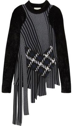 3.1 Phillip Lim - Asymmetric Velvet-trimmed Wool-jacquard Sweater - Navy $650 thestylecure.com