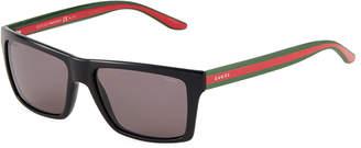 Gucci Rectangle Plastic Sunglasses w/ Web Arms, Black