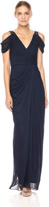Adrianna Papell Women's Deep V Neck Rouched Gown with Bead Detail