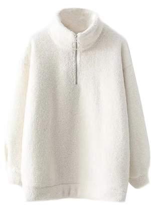 Goodnight Macaroon 'Ibbie' Stand Collar Half-Zip Fleece Pullover