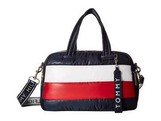 Tommy Hilfiger Ames Puffy Canvas Corp Color Block Satchel