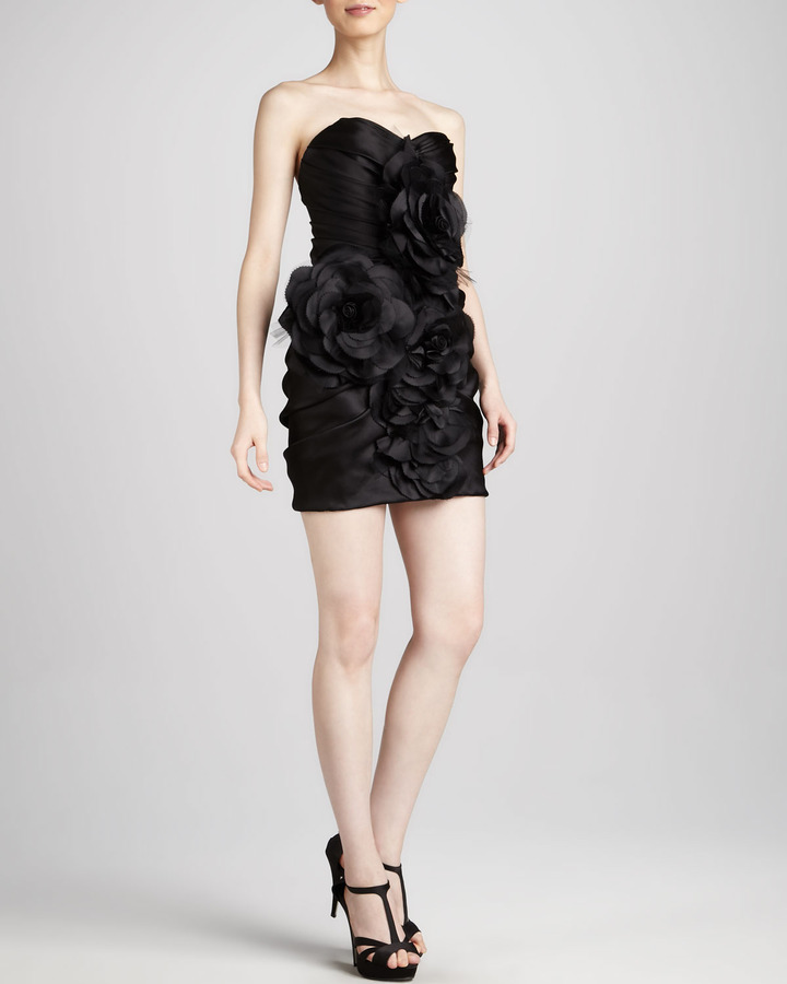 Marchesa Strapless Floral-Front Dress