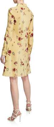 Valentino Tie-Neck Floral Print Long-Sleeve Silk Dress