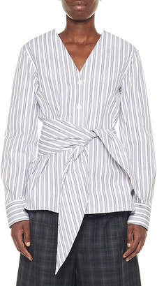 Tibi Liam Striped Shirting Belted V-Neck Top