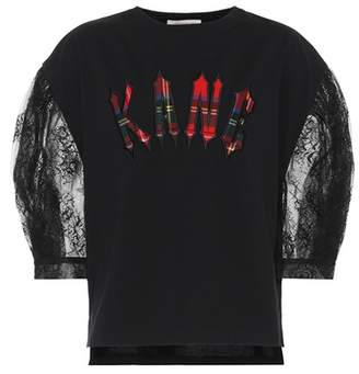 Christopher Kane Lace-sleeved cotton top