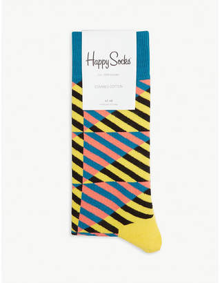 Happy Socks Diagonal stripe cotton-blend socks