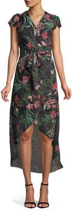 Julia Jordan Floral High-Low Faux-Wrap Dress