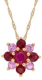 Sonatina 14K Rose Gold, Ruby and Pink Sapphire Cluster Star Necklace