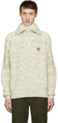 Isabel Marant White Wool Lelly Ski Zip-Up Sweater