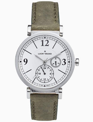 Lucky Brand CARMEL BOYFRIEND OLIVE LEATHER WATCH, 38MM