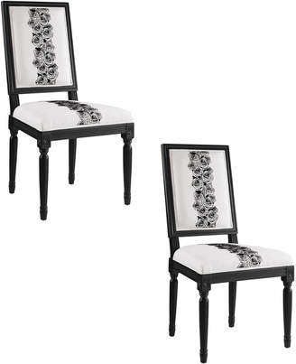 Linon Set Of 2 Rose Square Back Chair