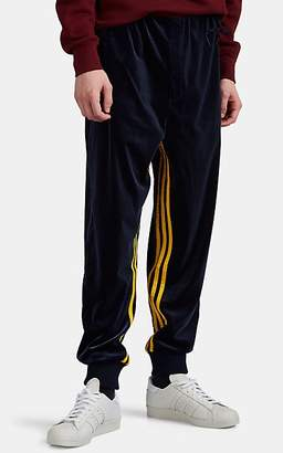 adidas Men's Striped Colorblocked Velour Jogger Pants - Navy