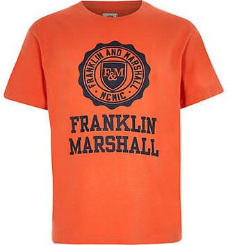 River Island Boys Franklin and Marshall orange T-shirt