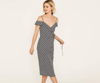 Oasis STRIPE WRAP MIDI DRESS