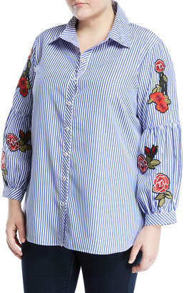Neiman Marcus Plus Embroidered-Sleeve Striped Button-Front Blouse, Plus Size