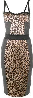 Dolce & Gabbana Pre-Owned leopard print denim bustier dress