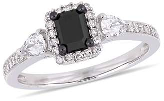 Asteria 7/8 Carat T.W. Black and White Diamond and 3/8 Carat T.G.W. White Sapphire 10kt White Gold Halo Engagement Ring