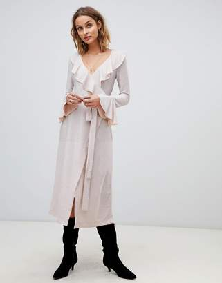 Free People One More Time glitter frill midi wrap dress