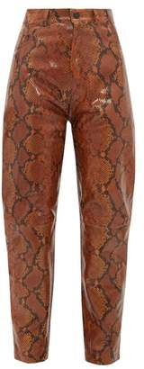 ATTICO The High Rise Tapered Python Effect Leather Trousers - Womens - Multi
