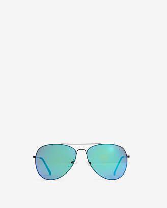 Express Aqua Lens Aviator Sunglasses