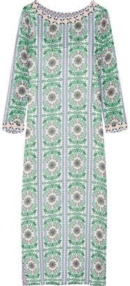 Tory Burch - Garden Party Beaded Printed Silk-chiffon Maxi Dress - Green $495 thestylecure.com