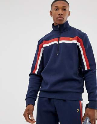 Farah Sport paneled half zip sweat in navy
