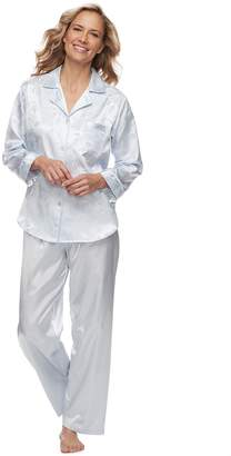 Miss Elaine Women's Essentials Satin Shirt & Pants Pajama Set