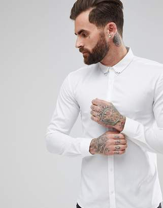 HUGO Extra Slim Fit Stud Collar Detail In White