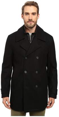 Andrew Marc Cushing Pressed Wool Peacoat w/ Removable Quilted Bib Men's Coat