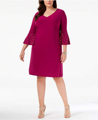 MSK Plus Size Embellished Bell-Sleeve Sheath Dress
