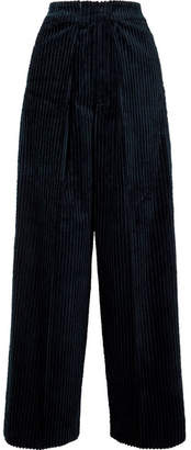 Golden Goose Bertilla Cotton-corduroy Wide-leg Pants - Navy