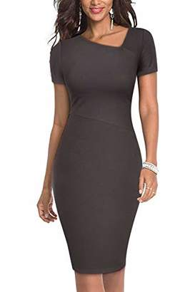 Moyabo Womens Work Dresses Short Sleeve Slim Fit Business Bodycon Pencil Dress