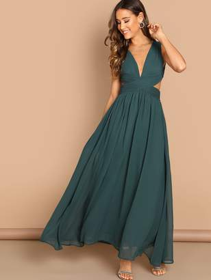 Shein Open Back Ruched Top Flowy Prom Dress