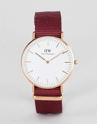 Daniel Wellington Roselyn Watch in Rose Gold with Canvas Strap 36mm