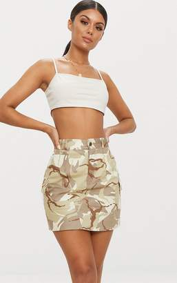 PrettyLittleThing Khaki Camo Cargo Mini Skirt