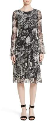 Fuzzi Ruffle Floral Print Tulle Dress