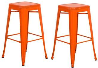 "Vogue Furniture Direct Barstool 24"" backless top mesh metal Stools ORANGE (Set of 2) VF1571011"