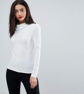 Asos Tall High Drape Neck Top With Button Detail