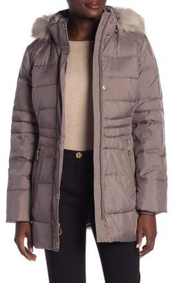 Anne Klein Missy Quilted Hooded Faux Fur Jacket