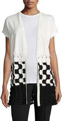 Lafayette 148 New York Women's Matte Crepe Two-Tone Cable-Knit Vest